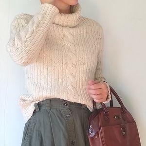 Vintage • cream flecked ribbed knit turtleneck